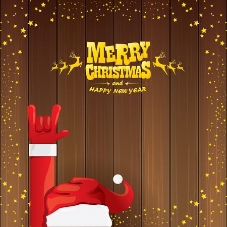 vector cartoon Santa Claus rock n roll style with golden calligraphic greeting text on wooden background with christmas star lights. Illustration