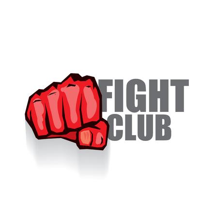 logotipo de vector de club de lucha con puño de hombre rojo aislado sobre fondo blanco. Plantilla mixta de diseño de artes marciales MMA