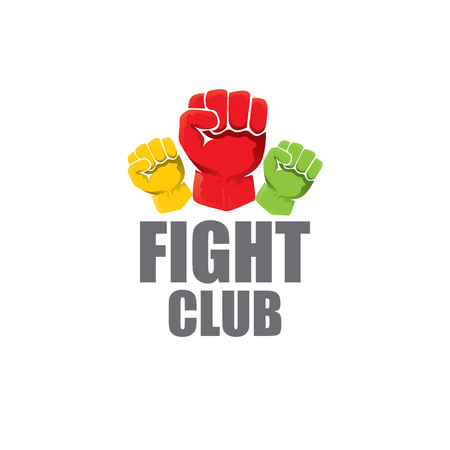 fight club vector logo with red man fist isolated on white background. MMA Mixed martial arts design template