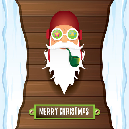 vector bad rock n roll dj santa claus with smoking pipe, funky beard and greeting calligraphic text on old vintage wooden background. Illustration