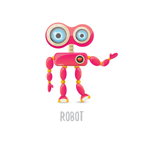 vector funny cartoon pink friendly robot character Isolated on white background. Kids robot logo design template