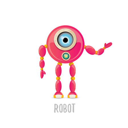 vector funny cartoon pink friendly robot character Isolated on white background. Kids robot design template