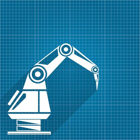 Vector robotic arm symbol on blueprint paper background. robot hand. technology background design. Illustration