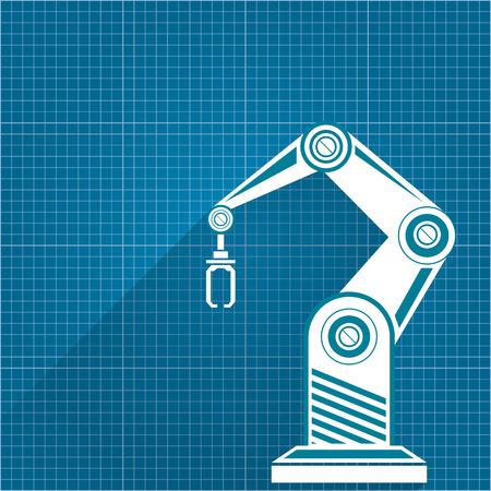 Vector el smbolo robtico del brazo en fondo del papel del modelo vector robotic arm symbol on blueprint paper background robot hand technology background design malvernweather Images