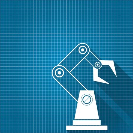 vector símbolo de brazo robótico sobre fondo de papel modelo. mano de robot. diseño de fondo de tecnología