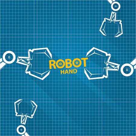Vector robotic arm symbol on blueprint paper background robot vector robotic arm symbol on blueprint paper background robot hand technology background design vector malvernweather Image collections