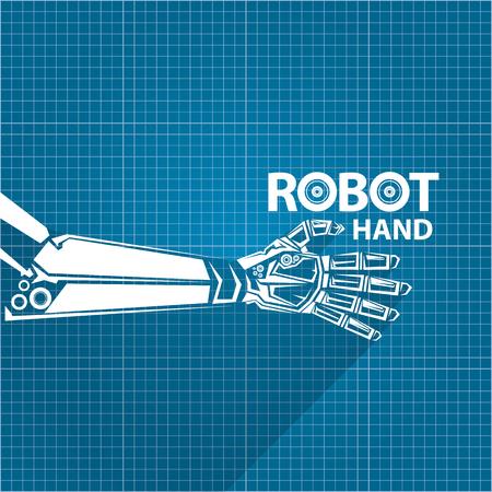 Vector robotic arm symbol on blueprint paper background robot vector vector robotic arm symbol on blueprint paper background robot hand technology background design malvernweather Image collections
