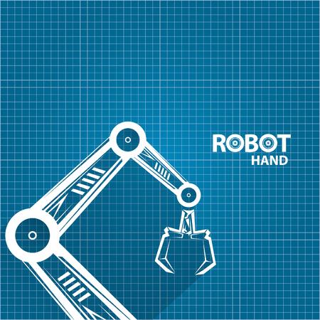 vector robotic arm symbol on blueprint paper background. robot hand. technology background design Illustration