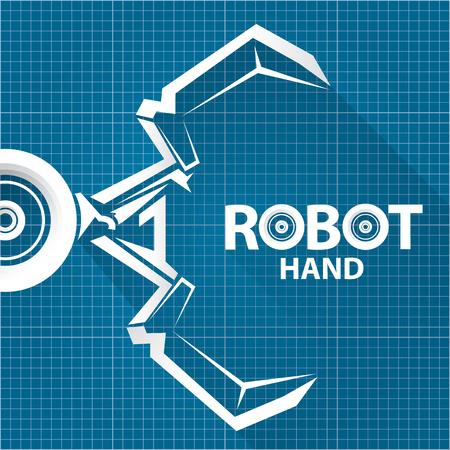 Vector robotic arm symbol on blueprint paper background robot hand vector robotic arm symbol on blueprint paper background robot hand technology background design ilustraciones vectoriales clip art vectorizado libre de malvernweather Gallery