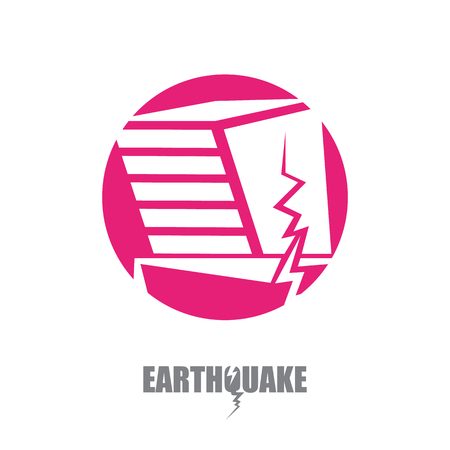 Vector earthquake insurance icon with damaged house on white background. Natural disaster sign or symbol. Illustration