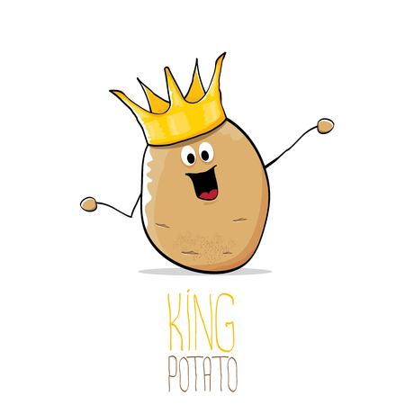 cute: vector funny cartoon cool cute brown smiling king potato