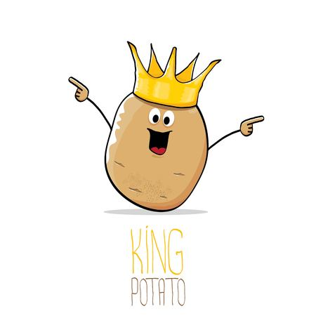 Funny cartoon cool cute brown smiling king potato
