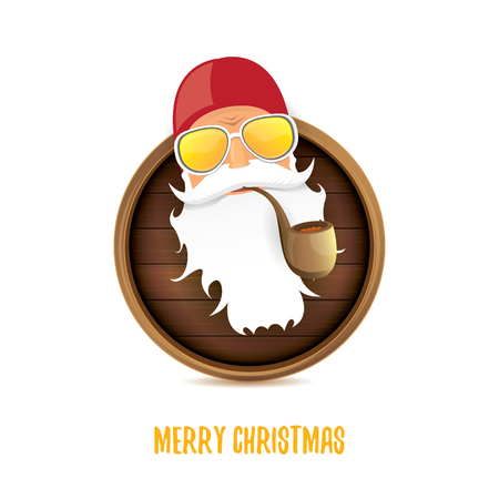 vector bad rock n roll dj santa claus with smoking pipe, funky beard and greeting calligraphic text on old vintage circle wooden board sign. Christmas party hipster poster Illustration