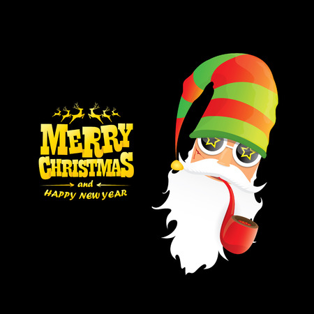 vector bad rock n roll dj santa claus with smoking pipe, beard and greeting gold christmas calligraphic text isolated on black background. Christmas rock hipster party poster background