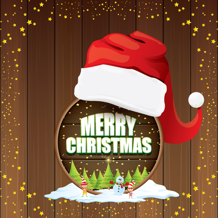 vector Christmas label with red santa hat, tree , snow, cartoon snowman , kids elves, night starry sky and greeting text on wooden round sign background. vector merry christmas card