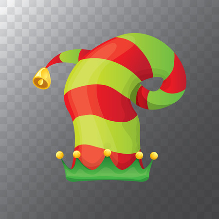 Vector funky rode en groene gestripte cartoon kerst elf hoed geïsoleerd op transparante achtergrond. vector kinderen kleurrijke elf hoed pictogram of label. Kerst decoratief ontwerpelement Stockfoto - 90655892