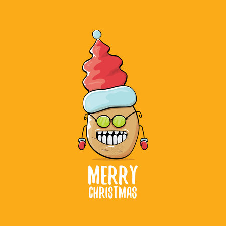 vector funky comic cartoon cute brown smiling santa claus potato with red santa hat and calligraphic merry christmas text isolated on orange background. vector funky christmas character  イラスト・ベクター素材