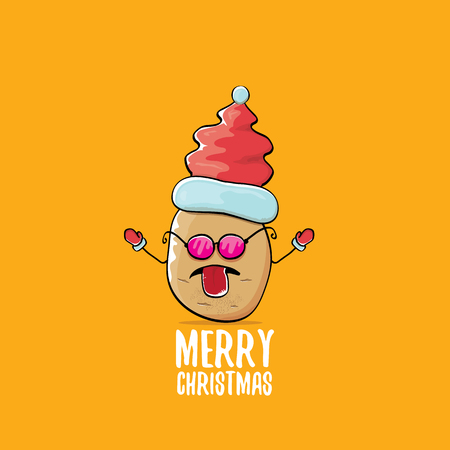 vector funky comic cartoon cute brown smiling santa claus potato with red santa hat and calligraphic merry christmas text isolated on orange background. vector funky christmas character Illustration