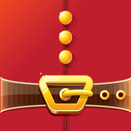 vector merry christmas classic red cartoon background with santa claus belt and golden buckle. vector christmas banner , flyer or poster background with copy space for greeting text