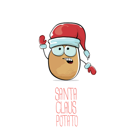 Vector funky comic cartoon cute brown smiling Santa Claus potato with red Santa hat isolated on white background. vegetable funky Christmas character for banners, labels, invitation and greeting cards.