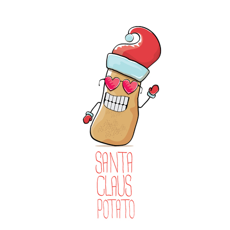 vector funky comic cartoon cute brown smiling santa claus potato with red santa hat isolated on white background. vegetable funky christmas character for banners, labels, invitation and greeting cards