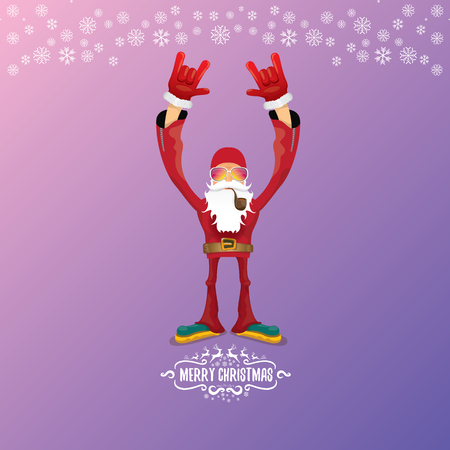 vector DJ rock n roll santa claus with smoking pipe, santa beard and funky santa hat isolated on violetred christmas square background with snowflakes. Christmas hipster party poster with snowflakes. Illustration