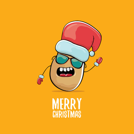 vector funky comic cartoon cute brown smiling santa claus potato with red santa hat and calligraphic merry christmas text isolated on orange background. vegetable funky christmas character Illustration