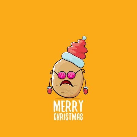 Vector funky comic cartoon cute brown smiling santa claus potato with red santa hat and calligraphic merry christmas text isolated on orange background.