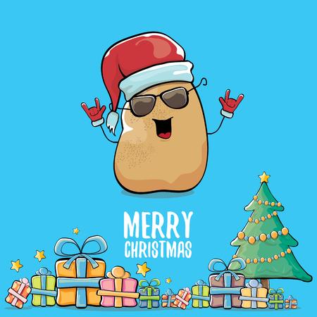 vector funky historieta cómica Papá Noel sonriente marrón lindo de la historieta con el sombrero rojo de santa, los regalos, el árbol y el texto caligráfico de la Feliz Navidad aislado en fondo azul. funky personaje de navidad Ilustración de vector