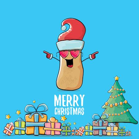 Christmas card with potato character wearing Santa hat. Illustration