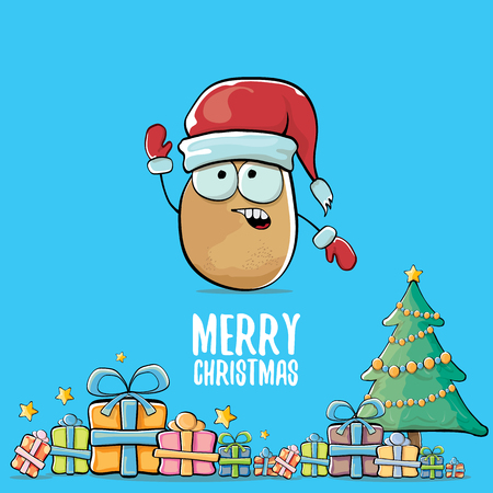A vector funky comic cartoon cute brown smiling santa claus potato with red santa hat, gifts, tree and calligraphic merry christmas text isolated on blue background. funky christmas character