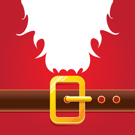 vector merry christmas classic red cartoon background with santa claus white beard, belt and golden buckle. vector christmas banner , flyer or poster background with copy space Illustration