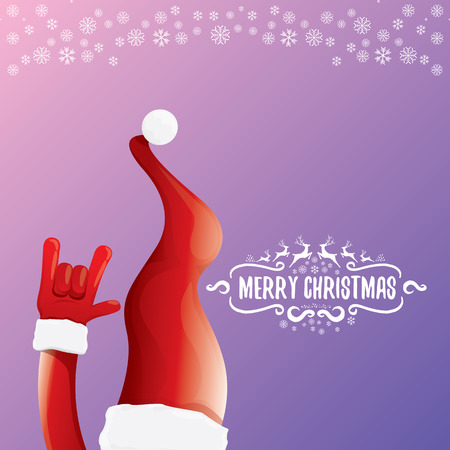 vector cartoon rock n roll Santa Claus with calligraphic greeting text on night violet background with snowflakes. Merry Christmas Rock n roll party poster design Illustration