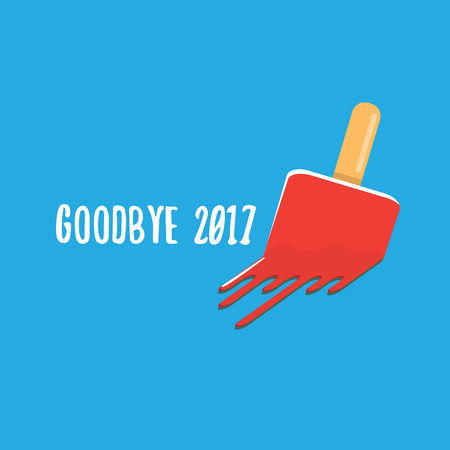 Goodbye 2017 concept illustration with melt pink ice cream on blue illustration.