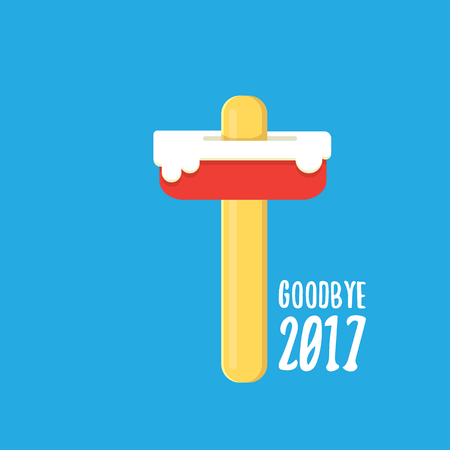 Vector goodbye 2017 vector concept illustration with melt pink ice cream on blue background. End of the year background