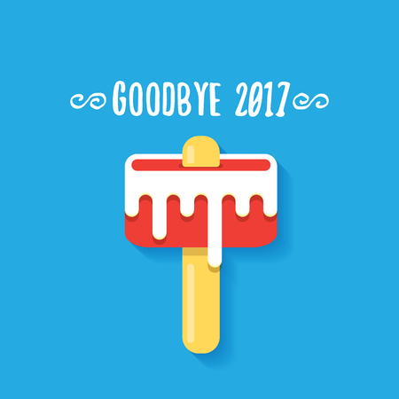 vector goodbye 2017 vector concept illustration with melt pink ice cream on blue background. End of the year background Stock Photo