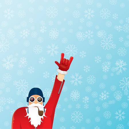 DJ de Kerstman met het ontwerp van de pijpkerstkaart. Vector Illustratie