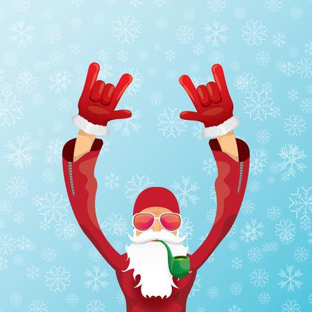 DJ santa claus with pipe Christmas card design. Illustration