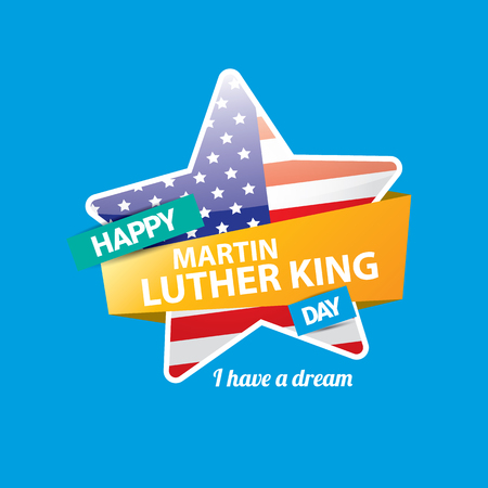 vector Martin Luther King Jr day us sticker or label isolated on blue background. Martin Luther King Jr day vector background or poster Illustration