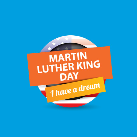 vector Martin Luther King Jr day us sticker or label isolated on blue background. Martin Luther King Jr day vector background or poster Иллюстрация