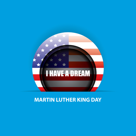 vector Martin Luther King Jr day us sticker or label isolated on blue background. Martin Luther King Jr day vector background Illustration