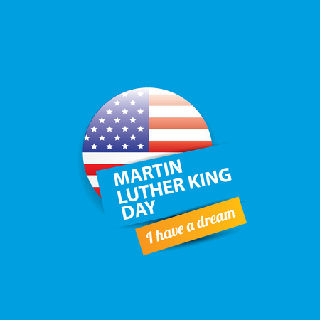 vector Martin Luther King Jr day us sticker or label isolated on blue background.