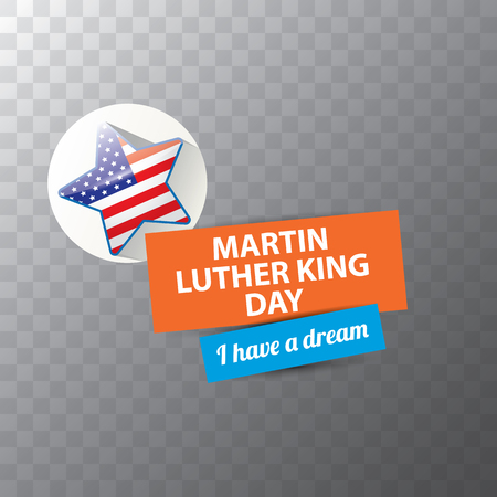 vector Martin Luther King Jr day sticker or label isolated on transparent background. Martin Luther King Jr day vector background Иллюстрация