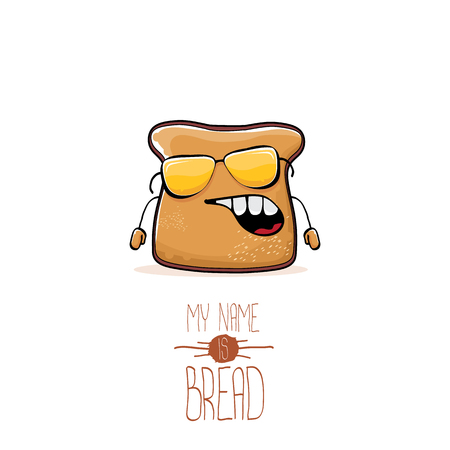 vector funny cartoon cute sliced bread character isolated on white background. My name is bread concept illustration. funky food character