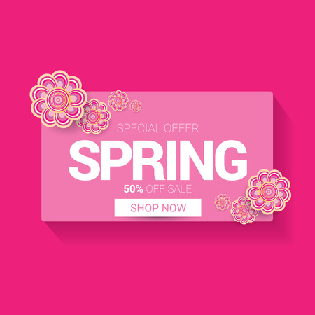 Vector spring sale design template banner or tag on pink background. Abstract spring sale pink label or background with beautiful flowers.