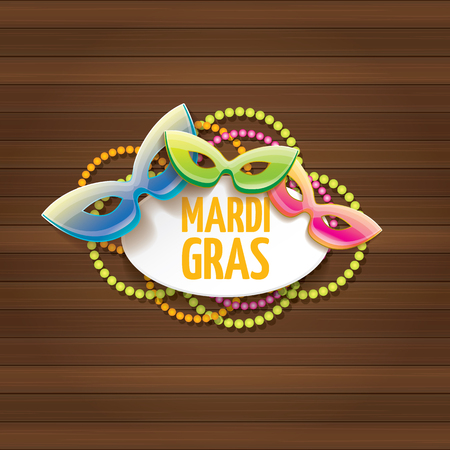 New Orleans Mardi Gras carnival vector label with mask and text on wooden wall background. Mardi Gras party or fat Tuesday vector poster design template with space for text.