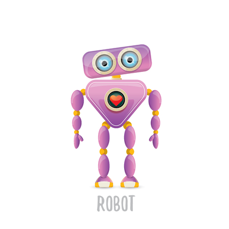Funny vector cartoon purple friendly robot character isolated on white background. Kids 3d robot toy chat bot icon.