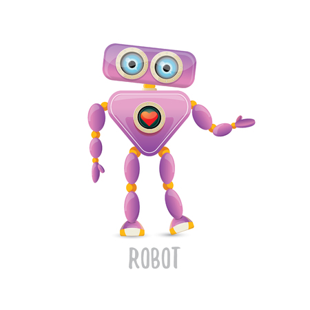 Vector funny cartoon purple friendly robot character isolated illustration Illustration