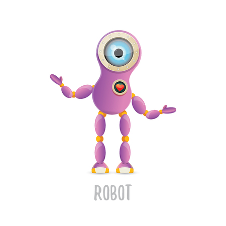 Vector funny cartoon purple friendly robot character isolated illustration Illustration