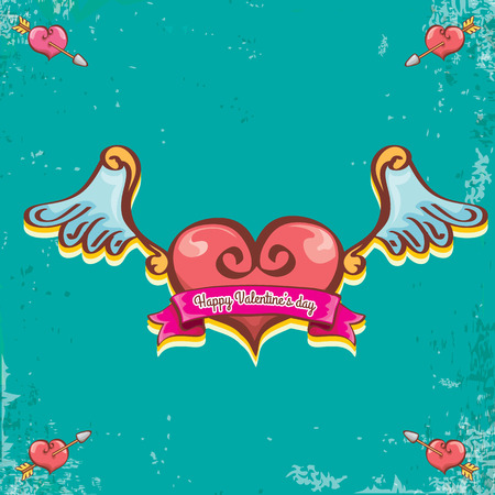 Valentines day vintage cartoon tattoo style red heart label with angel wings and cartoon vintage pink ribbon on turquoise grunge background. Valentines day greeting card. Illustration